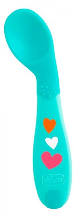CHICCO First Spoon Κουτάλι Σιλικόνης Αρχής 8+ μηνών Χρώμα Μπλε για το ξεκίνημα του Μωρού να Φάει Μόνο του  code 16100-30_blue