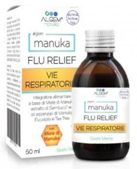 ALGEM Manuka Flu Relief που περιέχει μέλι Manuka, σαμπούκο και φυτικά εκχυλίσματα  που συμβάλλουν στην ενίσχυση της άμυνας του οργανισμού 50ml