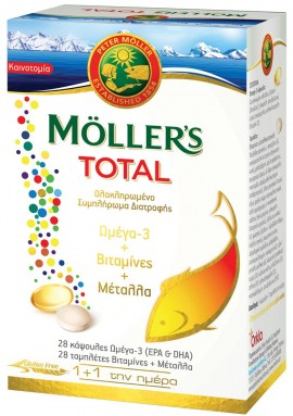 MOLLERS Total Ολοκληρωμένο Συμπλήρωμα Διατροφής με Ωμέγα 3 + Βιταμίνες + Μέταλλα, 28Caps & 28Tabs