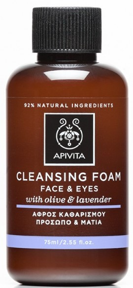 APIVITA Mini Κρεμώδης Αφρός Καθαρισμού για Πρόσωπο & Μάτια με Ελιά & Λεβάντα, 75ml