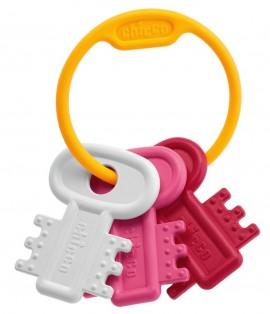 CHICCO Χρωματιστά Κλειδιά Ροζ Ηλικίας 3 - 18 μηνών Ιδανικά για Μασητικό 1τμχ code 63216-10