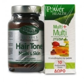 POWER HEALTH Συμπλήρωμα Διατροφής Hair Tone, Nails & Skin για Υγιή Μαλλιά, Νύχια & Δέρμα, 30 Κάψουλες & ΔΩΡΟ Multi Πολυβιταμίνες, 10 Αναβρ.Δισκία