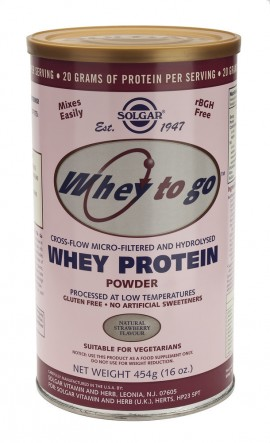 SOLGAR Whey To Go Protein Strawberry Powder, 454gr