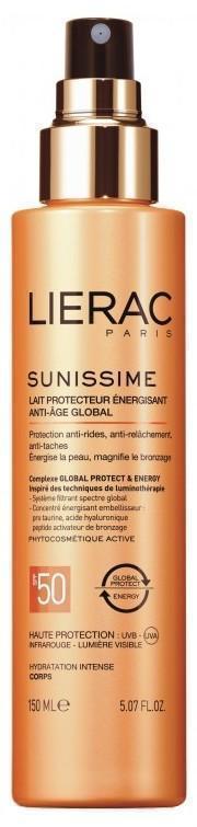 LIERAC Sunissime Lait Protecteur SPF50 Αντηλιακό Γαλάκτωμα Σώματος ολικής αντιγήρανσης. Προσφέρει προστασία ευρέος φάσματος ενώ τονώνει την επιδερμίδα, 150ml