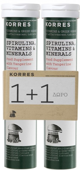 KORRES Set Συμπλήρωμα Διατροφής με Σπιρουλίνα, Βιταμίνες & Μέταλλα με Γεύση Μανταρίνι, 1+1 Δώρο, 20Tabs & 20Tabs