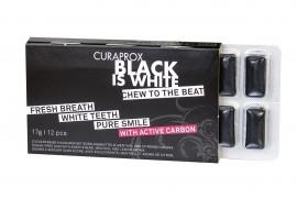 CURAPROX,  Black is White Chew to the Beat, Τσίχλα για Λευκά Δόντια με Ενεργό Άνθρακα & Γεύση Λεμόνι - Μέντα, 12 Τεμάχια