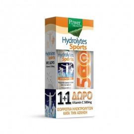 POWER HEALTH 1+1ΔΩΡΟ Hydrolytes Sports with Stevia Συμπλήρωμα Διατροφής με Ηλεκτρολύτες με Στέβια & Vitamin C 500mg Βιταμίνη C με Γεύση Πορτοκάλι (20 + 20 αναβράζοντα δισκία)