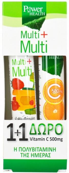 POWER HEALTH, Multi+Multi Πολυβιταμίνες 24 Αναβρ.Δισκία & ΔΩΡΟ Vitamin C 500mg 20 Αναβρ.Δισκία