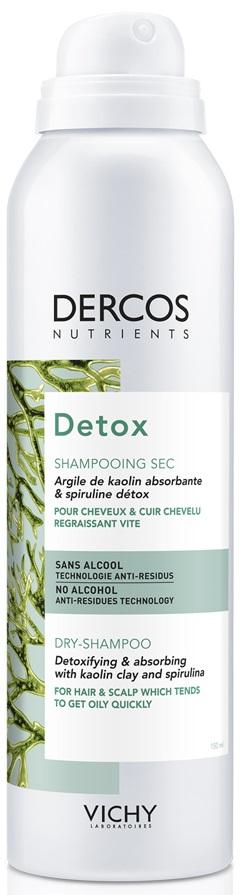 VICHY Dercos Nutrients Detox Dry Shampoo Εξισσοροπιστικό Ξηρό Σαμπουάν για Λιπαρά Μαλλιά & Τριχωτό, 150ml