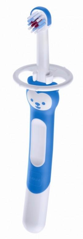 MAM Training Brush with safety shield Εκπαιδευτική οδοντόβουρτσα με ασπίδα προστασίας για μωρά 5+ μηνών code 605 Blue