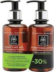 APIVITA Promo Purifying Gel Καθαρισμού & Τονωτική Λοσιόν για Λιπαρές & Μικτές Επιδερμίδες με Πρόπολη & Lime -30% 200ml & 200ml