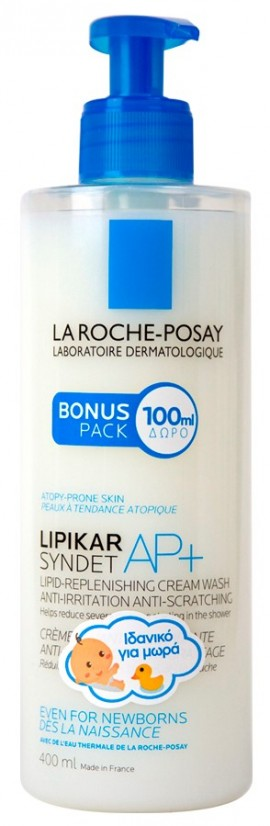 LA ROCHE-POSAY Lipikar Syndet AP+ Κρέμα Καθαρισμού Αναπλήρωσης Λιπιδίων Κατά των Ερεθισμών και του Κνησμού, 400ml