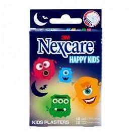 3M Nexcare Happy Kids Monsters παιδικοί Αυτοκόλλητοι Μικροεπίδεσμοι 19mm X 72mm 10τμχ & 25mm X 72mm 10τμχ  (1 κουτί)