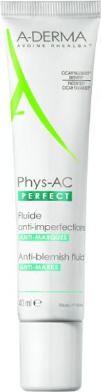 A-DERMA, Phys-AC Perfect Fluide, Λεπτόρρευστη Κρέμα Κατά των Ατελειών και Σημαδιών, 40ml