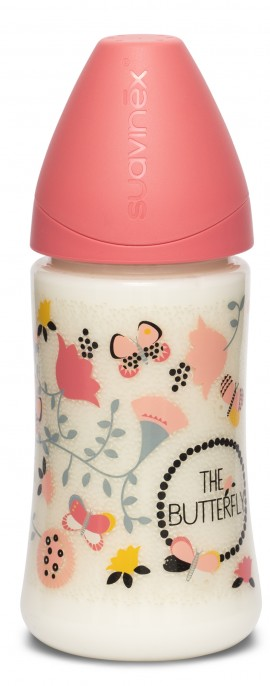 SUAVINEX FUSION Μπιμπερό 3P πλαστικό 270ml Θηλή Σιλικόνης 0+ μηνών BUTTERFLY Pink code 10 304803