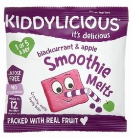 KIDDYLICIOUS Smoothie Melts Blackcurrant – Apple, Σμούθι Φραγκοστάφυλο – Μήλο, κατάλληλα από τον 12ο Μήνα, 6gr