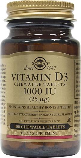 Solgar Vitamin D3 1000 IU / 25μg, μασώμενες 100s - Βιταμίνη D3 για οστεοπόρωση και τόνωση ανοσοποιητικού
