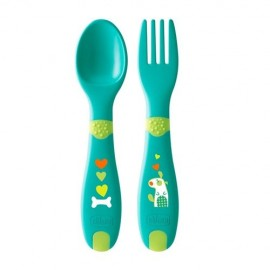 CHICCO First Cutlery Σετ Πιρούνι - Κουτάλι  12+ μηνών (συσκευασία δύο τεμαχίων) code 16101-30