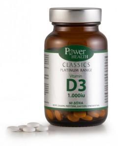 Power Health Classics Platinum D - Vit 3 1000 IU Συμπλήρωμα Βιταμίνης D3, 60Tabs