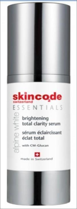 SKINCODE Essentials Alpine White Brightening Total  Clarity  Serum,   Δυνατός ορός λεύκανσης για τη διόρθωση των πανάδων και των δυσχρωμιών, 30ml
