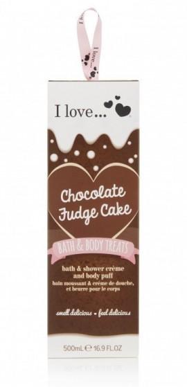 I LOVE BATH & BODY TREATS Chocolate Fudge Cake Σετ Ενυδατικό Αφρόλουτρο 500ml και Σφουγγαράκι Μπάνιου με άρωμα Σοκολάτα