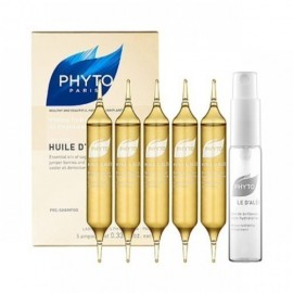 PHYTO HUILE DALES (5 αμπούλες των 10ml) Λάδι λάμψης και βαθιάς ενυδάτωσης Ξηρά μαλλιά