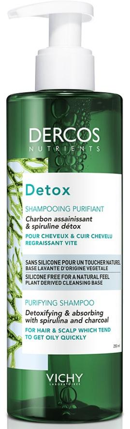 VICHY Dercos Nutrients Detox Shampoo Σαμπουάν για Λιπαρά Μαλλιά, 250ml