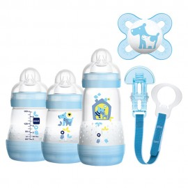 MAM Gift Set Σετ δώρου 5 τεμαχίων για νεογέννητα Δυο Μπιμπερό 160ml και Ένα Μπιμπερό 260ml Easy Start Anti-Colic,  Πιπίλα MAM Start με Κορδέλα στήριξη …