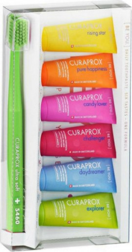 CURAPROX,  Be You Six Tastes, 6 Οδοντόκρεμες με Διαφορετικές Γεύσεις,10ml & Οδοντόβουρτσα CS 5460 Ultra Soft Λαχανί, 1 Τεμάχιο