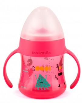 SUAVINEX Βοοο! Πρώτο μπουκάλι με λαβές 150 ml με μαλακό στόμιο σιλικόνης Άθραυστο Για Μωρά +6Μ Χρώμα Ροζ code 10303613