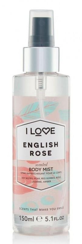 I LOVE Cosmetics English Rose Body Mist Spray άρωμα σώματος με αρώματα Τριαντάφυλλου και Φρούτων για όλες τις ώρες 150ml (1 τεμάχιο)