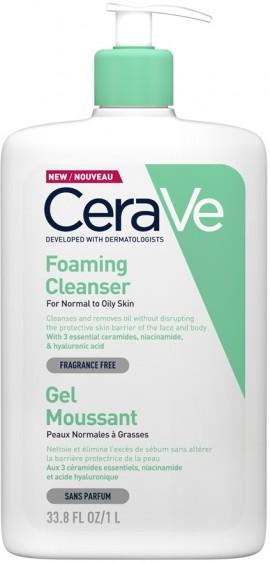 CERAVE Foaming Cleanser Καθαρίζει και Απομακρύνει τη Λιπαρότητα από Πρόσωπο και Σώμα Χωρίς να Διαταράσσει τον Επιδερμιδικό Φραγμό, 1lt