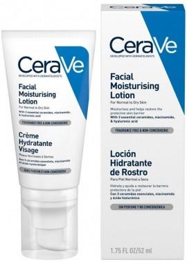 CERAVE Facial Moisturising Lotion Ενυδατική Κρέμα Προσώπου για Κανονικό έως Ξηρό Δέρμα Χωρίς Άρωμα, 52ml