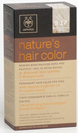 APIVITA Natures Hair Color N9.17 Ξανθό Πολύ Ανοιχτό Σαντρέ Μπεζ, 125ml