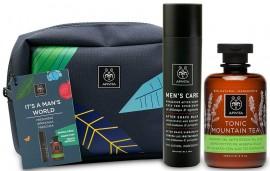 APIVITA Promo Box Its a Man World: Αφρόλουτρο Tonic Mountain Tea & Ενυδατικό After Shave Κατά των Ερεθισμών, 300ml & 100ml