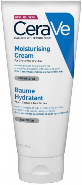 CERAVE Moisturising Cream Ενυδατική Κρέμα για Πρόσωπο/Σώμα για Ξηρό/Πολύ Ξηρό Δέρμα Χωρίς Άρωμα, 177ml