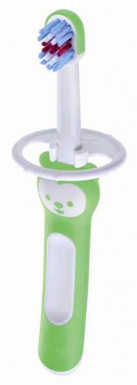 MAM First Brush  with safety shield Βρεφική οδοντόβουρτσα με ασπίδα προστασίας για μωρά 6+ μηνών code 606 Green