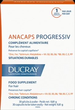 DUCRAY, Anacaps Progressiv, Συμπλήρωμα Διατροφής για Χρόνια Τριχόπτωση, 30 κάψουλες