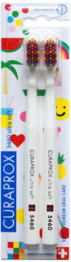 CURAPROX 5460 Ultra Soft, Οδοντόβουρτσες Λευκές Pop Art Limited Edition, 2 Τεμάχια