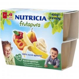 Nutricia Frutapura Κοκτέιλ 5 φρούτων Έτοιμη φρουτόκρεμα από 6-36 μηνών 400gr