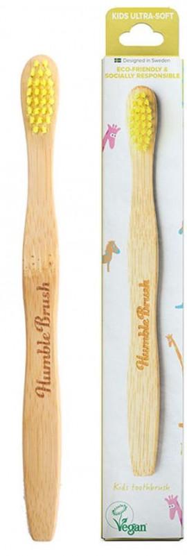 The Humble Brush Οδοντόβουρτσα Ultra Soft με λαβή από βιοδιασπώμενο Bamboo Παιδική Κίτρινο, 1 τεμάχιο