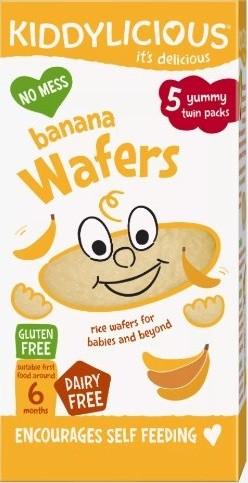 KIDDYLICIOUS Ρυζογκοφρέτα Μπανάνα Banana Wafers, κατάλληλα από τον 6ο Μήνα, 20gr