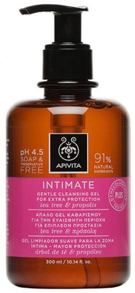APIVITA Intimate Plus - Απαλό Gel Καθαρισμού για την Ευαίσθητη Περιοχή για Επιπλέον Προστασία με Αντλία με Tea Tree & Πρόπολη, 300ml