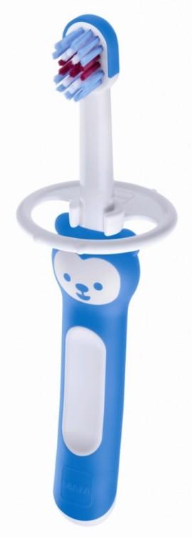 MAM First Brush  with safety shield Βρεφική οδοντόβουρτσα με ασπίδα προστασίας για μωρά 6+ μηνών code 606 Blue