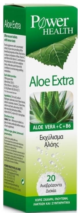 POWER HEALTH Aloe Extra Αλόη, Βιταμίνη C & B6 Εκχύλισμα Αλόης, 20 Αναβρ.Δισκία