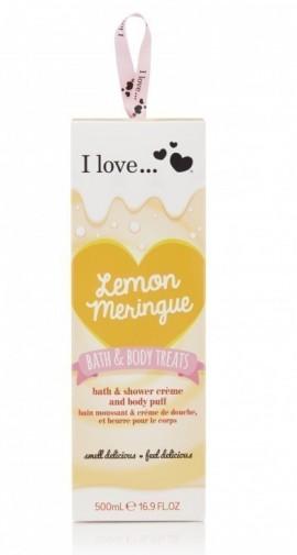 I LOVE BATH & BODY TREATS Lemon Meringue Σετ Ενυδατικό Αφρόλουτρο 500ml και Σφουγγαράκι Μπάνιου με άρωμα Λεμόνι