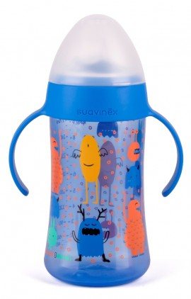 SUAVINEX Βοοο! Δεύτερο μπουκάλι με λαβές 270 ml με μαλακό στόμιο σιλικόνης Άθραυστο Για Μωρά +6Μ Boys Χρώμα Μπλε code 10303614