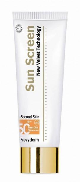 FREZYDERM Sunscreen Second Skin Body SPF50+, Αντηλιακό Σώματος με βελούδινη υφή χωρίς την αίσθηση λιπαρότητας, 125ml