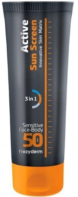 FREZYDERM Active Sun Screen Innovative Skin Matrix Sensitive Face and Body, Aντηλιακό Γαλάκτωμα για πρόσωπο και σώμα με SPF50, 150ml