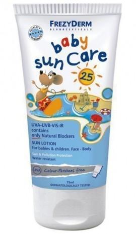 FREZYDERM Baby Sun Care SPF25+ , Αντηλιακό για βρέφη και παιδιά γαλάκτωμα προσώπου και σώματος, 100ml
